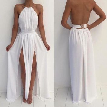 Halter White Backless Slit Long Prom Dress