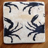 Natural Stone Coaster Set (4), Maryland Crab, Beer Coaster, Wine Coaster, Coaster