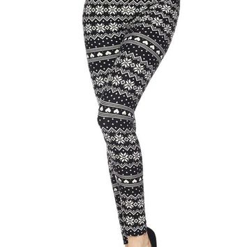 Black & White Snowflake Leggings