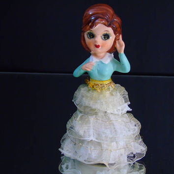 Norleans Bisque Figurine Big Eyed Girl Laced Skirt Original Foil Sticker Japan Mid Century Kitsch