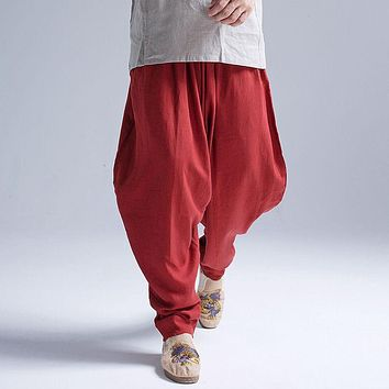 New Arrival Summer Fluid Big Crotch Pants male Travel Harem Pants Comfortable Cotton Linen Bloomers Indian Baggy Pants 050107