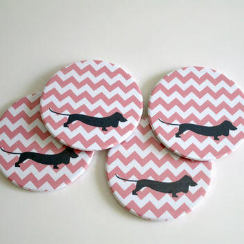 Dachshund Coaster Set - Doxie Dog Coasters - Navy and Coral Chevron Coasters - Drink Coasters - Dog Lover Gift - Modern Home Decor