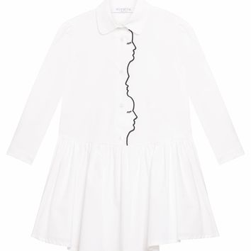 VIVETTA KIDS - Marshmallow Shirt Dress in White with Embroidered Faces