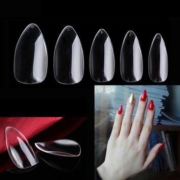 TKGOES 600 X Sharp Ending Nail Art Tips Clear/Natural /White Stiletto Pointed False Fake Nails Tips Manicure Artificial Nails