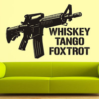 Wall Decal Vinyl Sticker Decals Art Decor Gun AKA 47 Whiskey Tango Foxtrot Army U.S. Gift Mans Father Hunter Weapon Rifle Bedroom ( r848)