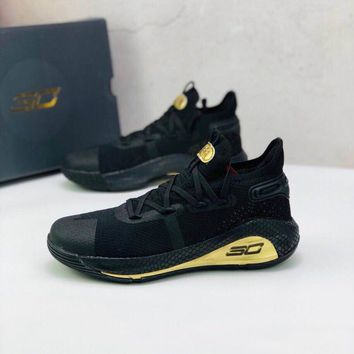 """Under Armour UA Curry 6 """"Black Gold"""" Toddler Kid Shoes Child Low Top Sneakers - Best Deal Online"""