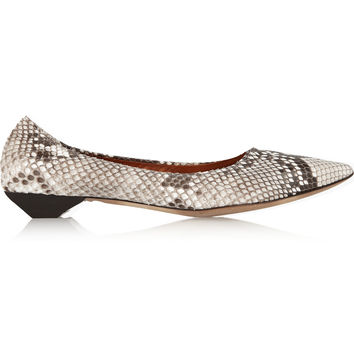 Lanvin - Python point-toe flats