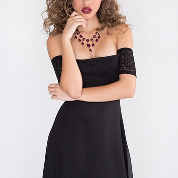 Lace Hi Low Dress - Black