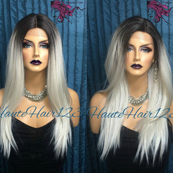 Gray Ombre Pearl Undertone Human Hair Blend Realistic Lace Front Wig