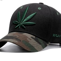 Embroidered Camo Cannabis Cap