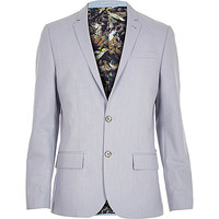 River Island MensLight blue print lined blazer