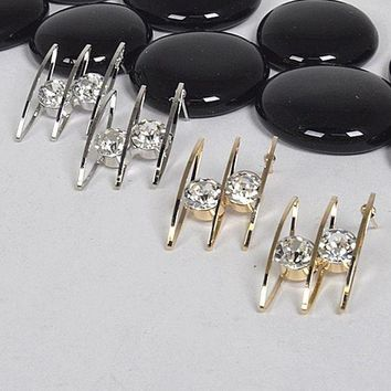 ac NOVQ2A Crystal Studded Earrings with Three Rings