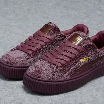 DCCKIJ2 Puma Rihanna Casual Suede Creeper Flatform Shoes Wine Red
