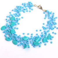Turquoise Blue Necklace. Bridal Necklace. Bridesmaid Necklace.  Multistrand Necklace. Beadwork.