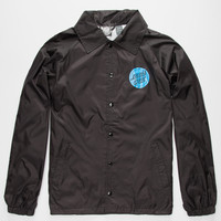 Santa Cruz Hand Mens Coach Windbreaker Jacket Black  In Sizes