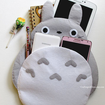 Totoro My Neighbour iPad Mini Case. Pink Clutch Bag Cosmetic Pouch iPhone Kindle Felt Case. Samsung Gadget Tab Note Sleeve. Bridal Gift.
