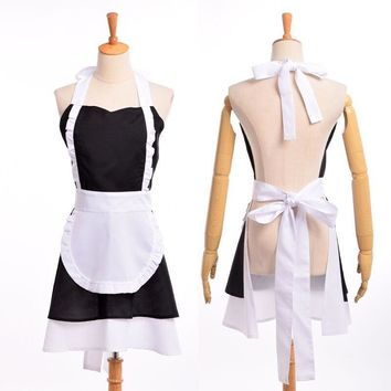 Cool Vintage Lolita Maid Dress Woman Cosplay Cotton Apron French Ruffle Pinafore Coffee Shop HomewearAT_93_12