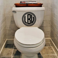 New Circle Monogram Vinyl Toilet Decal Personalized With Your Initials