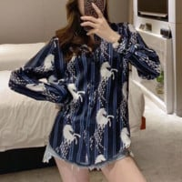"""Gucci"" Women Retro Fashion Horse Stripe Print Long Sleeve Lapel Silk Shirt Cardigan Tops"