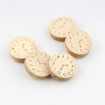 20pcs Unfinished Natural Wooden Clock Spacer Beading Beads 23mm for Baby Teethers DIY Crafts Kids Toys & Pacifier Clip Wood Bead