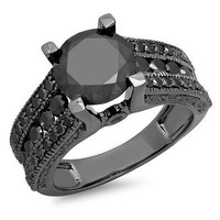 1.50ctw BLACK ROUND CUT SOLITAIRE 925 STERLING SILVER ENGAGEMENT RING FOR HER