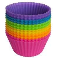 Silicone NonStick Reusable Baking Cups- Assorted Colors Cupcake Holder Set- 12 Pieces