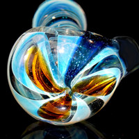 Super Heavy Silver Fumed Dichroic Spiral Smoking Pipe - Color Changing Spoon with Amber Design Top