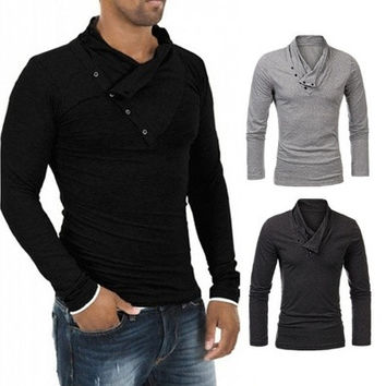 Men's Fashion Turn-Down Collar Slim Fit Long Sleeve T Shirt Oblique Button Solid Color T-shirt [9221637572]