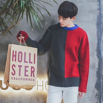 In The Autumn Of 2017 young people White Pollover Keep Warm Splice Color Sleeve Knit Sweater Harajuku Style Clothes