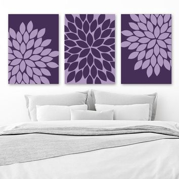 PURPLE Wall Art, Purple Bedroom Wall Decor, CANVAS or Prints, Purple BATHROOM Decor, Purple Flower Wall Art, Set of 3, Purple Home Decor