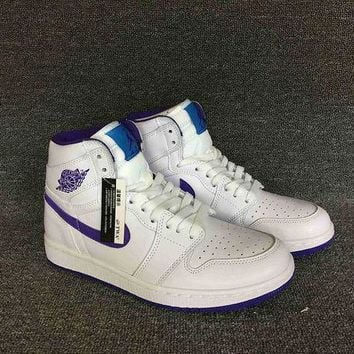 ONETOW VAWA Men's Air Jordan 1 Retro High Leather Basketball Shoes White Purple