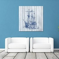 """Canik185 Canvas Print Artwork Stretched Gallery Wrapped Wall Art Painting Ship Frigate Sea Size 26x28"""""""
