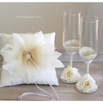 Ivory Wedding pillow set, Ring Pillow, Wedding champagne glasses.