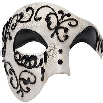 Vintage Design Mens Party Mask Male Phantom Of The Opera Masquerade Cool Half Face Mask For Masquerade Party