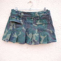 90s Pleated Skirt-  Camo mini skirt - Low Waist- Seapunk / Clubkid / raver / lolita /gothic