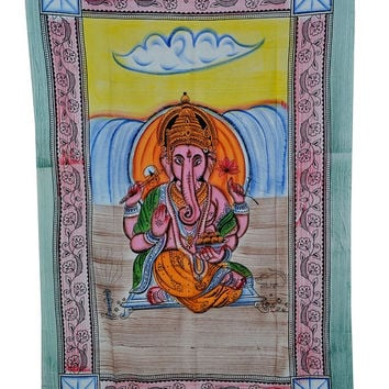 Lord Ganesha Print 100%Cotton Bed cover,Tapestry ,Bed Sheet, Throw,Tapestry Coverlet, Wall Hanging, Hippie Wall Hanging, Wall Decorative Art