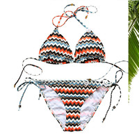 Halter Strappy Fashion Print Bikini Set Swimsuit Swimwear