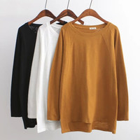 Solid Loose Pullover Shirt