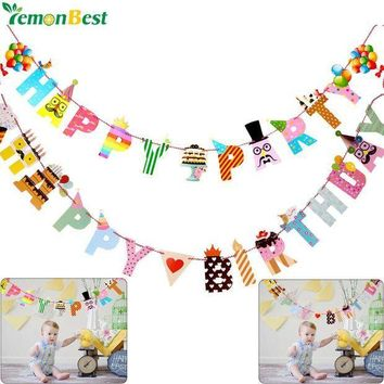ICIKU7Q Birthday Party Decoration Banner Colorful Funny Happy Birthday Banner Letters Shaped Kids Birthdays Party Supplies Home Decor