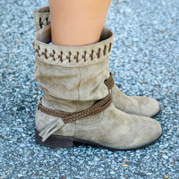 Very Volatile Bynes Premium Suede Slouchy Mid Calf Boot With Braided Details