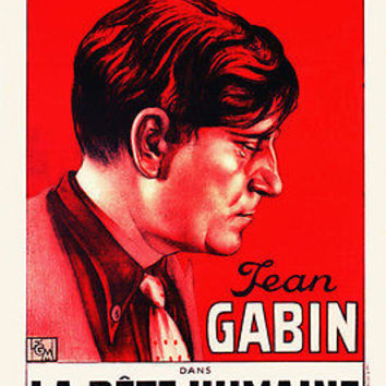 FRENCH LA BETE HUMAINE movie poster JEAN GABIN psychological THRILLER 24X36