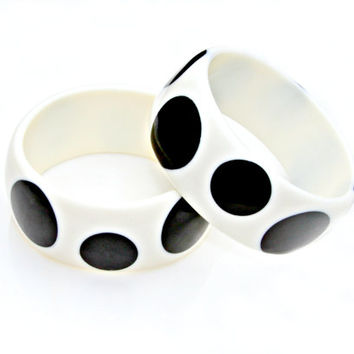 Black Polka Dot Bangle - Retro Round Balck and White Contempory Modern Chunky Circle Design Bagle by Mei Faith
