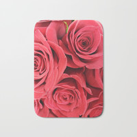 Red roses Bath Mat by Yilan