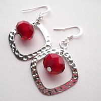 Red Velvet Crystal and Hammered Silver Plate Earrings