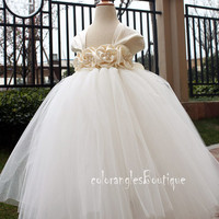 On Sales Flower Girl Dress Antique white Ivory tutu dress baby dress toddler birthday dress wedding dress 0-8t