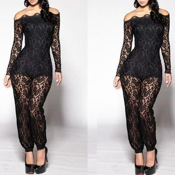 DCCKFV3 2017 Women Lace Jumpsuit Rompers Long pants Female Overall Playsuits Off Shoulder Solid Sexy Club Black White Hollow Bodysuit
