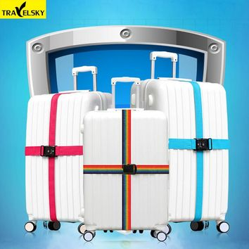 2pcs/set Travelsky New Travel Luggage Cross Strap Strong Nylon Belt 18-34 inches Suitcase TSA Three Layer Password Lock Straps