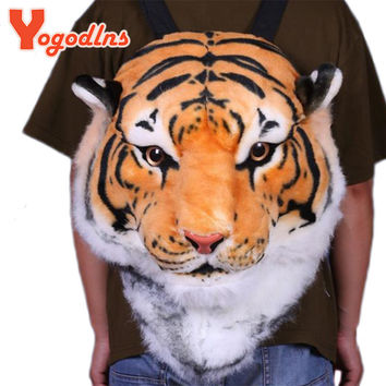 Yogodlns With Good Gift!2017 new Cool HUGE Luxury Tiger Head White Tiger Head style Bag Knapsack Backpack tiger bags
