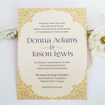 Ornate border wedding Invitation printed on luxury cream/white pearlescent paper - Glamour and chic victorian decorative invite