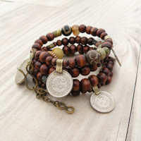 Wood and Vintage Gypsy Metalwork Bracelet - Memory Wire Coil Bracelet, Natural Accents